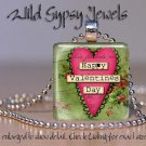 "Valentine's Heart Red Vtg green collage 1"" glass tile pendant necklace gift idea"