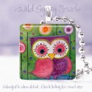 """Colorful Owl watercolor pink magenta green purple 1""""glass tile pendant necklace"""
