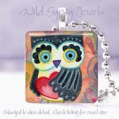 "Owl black red heart peach cute funky *NEW* design 1"" glass tile pendant necklace"