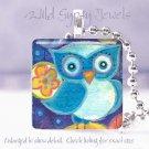 "Watercolor Happy Spring Owl Blue Aqua Navy 1"" glass tile pendant necklace"