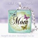 "Mothers Day GIFT butterflies Aqua 1"" glass tile pendant necklace"