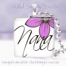 "Mothers Day GIFT Nana PINK floral 1"" glass tile pendant necklace"