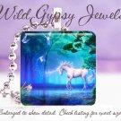 Mystical UNICORN Blue GREEN MAGICAL Glass Tile Pendant