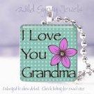 "Mothers Day GIFT Aqua check Grandma 1"" glass tile pendant necklace"