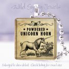 "Vintage ivory Unicorn Horn Potion Label 1"" glass tile pendant necklace gift idea"