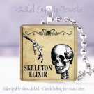 "Gothic Vintage Skeleton Poison Potion Label 1"" glass tile pendant necklace"