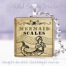 "Vtg Gothic Mermaid Poison Potion Label 1"" glass tile pendant necklace gift idea"