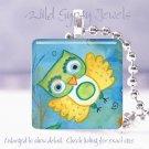 "Happy Watercolor Spring Owl Aqua Lime Yellow 1"" pendant"