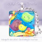"Cute Birds Yellow Aqua green 1"" colorful glass Pendant necklace made in USA NEW"