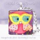 "Owl Spring Polka Dot Coral Pink Aqua yellow 1"" glass tile pendant necklace"