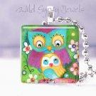 """Owls Mother Baby Aqua Purple 1"""" glass tile pendant necklace"""