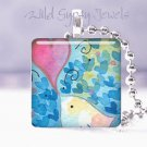 "White Bird pink heart blue chic 1"" glass tile pendant necklace NEW Low Price"