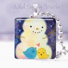 "FROSTY Snowman Blue yellow BIRDs winter 1"" sq necklace"