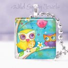 "Baby Owl Mother Pink Aqua Bird 1"" tile pendant necklace"