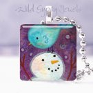 "1"" glass tile pendant neckSnowman BLUE bird PURPLE 1"" pendant Necklace GIFT IDEA"