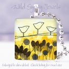 "Birds on a wire yellow cream violet *NEW* design 1"" glass tile pendant necklace"