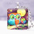 """Moon & Stars Owls Baby Mother 1"""" glass pendant necklace"""