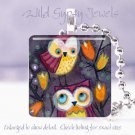 """Whimsical Forest Owls Mother & Child *NEW* design 1"""" glass tile pendant necklace"""