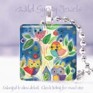 "Forest Owls Tree navy colorful brite *NEW* design 1"" glass tile pendant necklace"