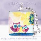 """Owls Mother Child yellow blue green *NEW* design 1"""" glass tile pendant necklace"""