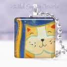 "Orange Marmalade CAT kitten whimsical 1"" glass tile pendant necklace great gift"
