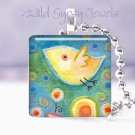 "Cute Baby Bird Flowers Yellow Aqua 1"" glass Pendant necklace NEW Price"