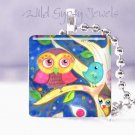 "Mother Owl Baby Tree Aqua Bird 1"" glass tile pendant necklace"