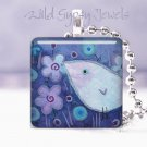 """Blue Baby Bird FLOWERS 1"""" glass tile pendant necklace NEW Low Price"""