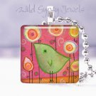 """Lime Green Baby Bird Flowers PINK 1"""" glass tile pendant NEW Low Price"""