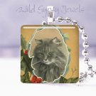 "Vintage Christmas Grey CAT Holly frame 1"" glass tile pendant necklace NEW"