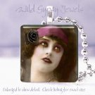 "Goth Vintage Vamp punk woman rose Black pink chic 1"" glass tile pendant necklace"