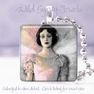 "Gothic Woman Pink Gray Punk Angel chic shabby HOT 1"" glass tile pendant necklace"