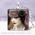 "Goth Punk Roaring Twenties Woman chic & shabby 1"" glass tile pendant necklace"
