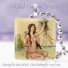 "Sea Ocean beach Vtg Fairy Faerie fairytale aqua 1"" glass tile pendant necklace"