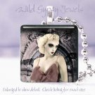 "Gothic Punk Vamp Vintage woman chic shabby Mauve 1"" glass tile pendant necklace"