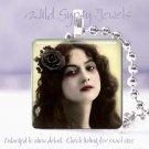 "Vintage Woman goth punk yellow black rose chic 1"" glass tile pendant necklace"