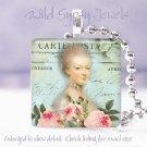 "French Carte Postal Marie Antoinette pink aqua 1"" glass tile pendant necklace"