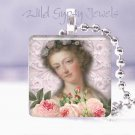 "French Paris Madonna PINK roses chic shabby sweet 1"" glass tile pendant necklace"