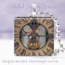 """Clock Time inner gears Victorian Si-Fi SteamPunk 1"""" glass tile pendant necklace"""