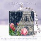 """Paris Eiffel Tower negative navy rose chic shabby 1"""" glass tile pendant necklace"""