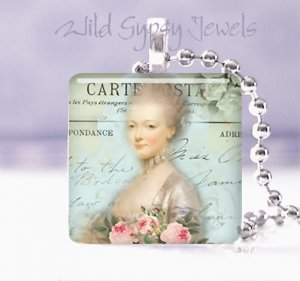 "Marie Antoinette Vintage Pink Aqua Paris French 1"" glass tile pendant necklace"