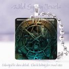 "Patina Teal Clock Time Victorian Si-Fi SteamPunk 1"" glass tile pendant necklace"