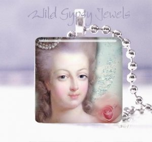 "Parisian Marie Antoionette Pink Rose Aqua shabby 1"" glass tile pendant necklace"