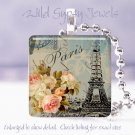 "Paris Eiffel Tower Pink roses blue chic shabby 1"" glass tile pendant necklace"