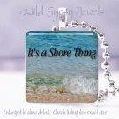 Jersey Shore Beach Girl Ocean Sea Waves glass pendant