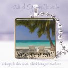 "Tropical Island Ocean Sea Beach Palms 1"" glass tile pendant necklace"