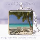 "Tropical Time Out Island Ocean Sea Beach 1"" glass tile pendant necklace"