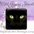 Black Cat KITTEN GREEN Eyes Glass Tile Pendant Necklace