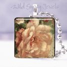 "C Klein PINK Victorian Rose Vintage Postcard 1"" glass tile pendant necklace gift"