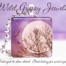 "Surreal Celestial MAUVE Sky MOON Hawks Birds 1"" Glass Tile Pendant necklace Gift"